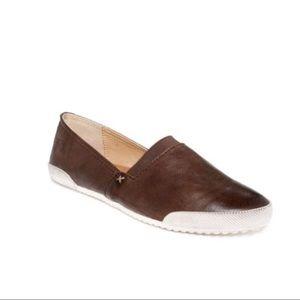 Frye Melanie Slip on brown flats leather sneakers